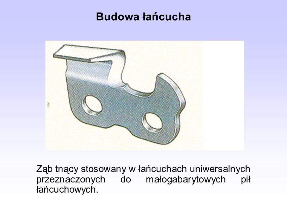 Budowa łańcucha Ząb tnący stosowany w łańcuchach uniwersalnych przeznaczonych do małogabarytowych pił łańcuchowych.