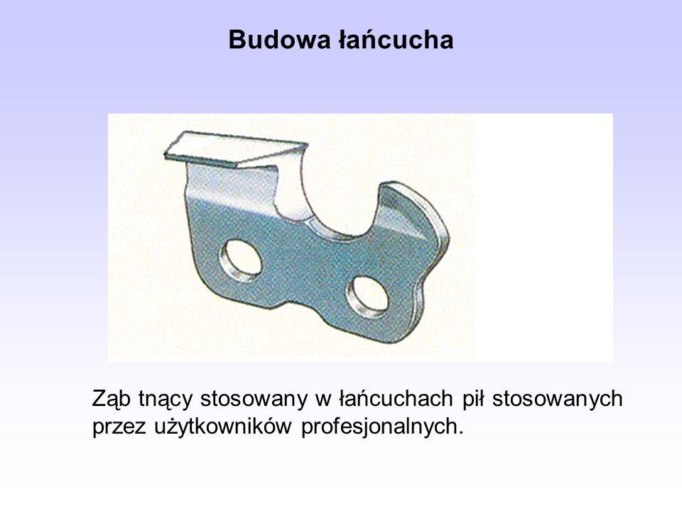 Budowa łańcucha Ząb tnący stosowany w łańcuchach pił stosowanych przez użytkowników profesjonalnych.