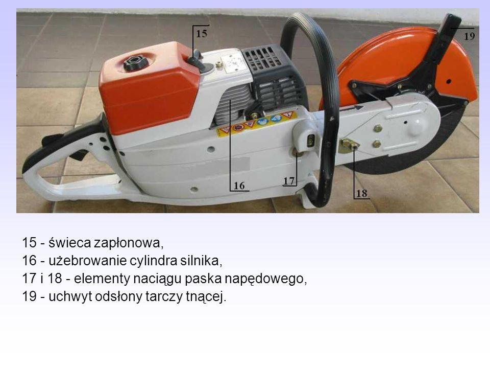 15 - świeca zapłonowa, 16 - użebrowanie cylindra silnika, 17 i 18 - elementy naciągu paska napędowego,
