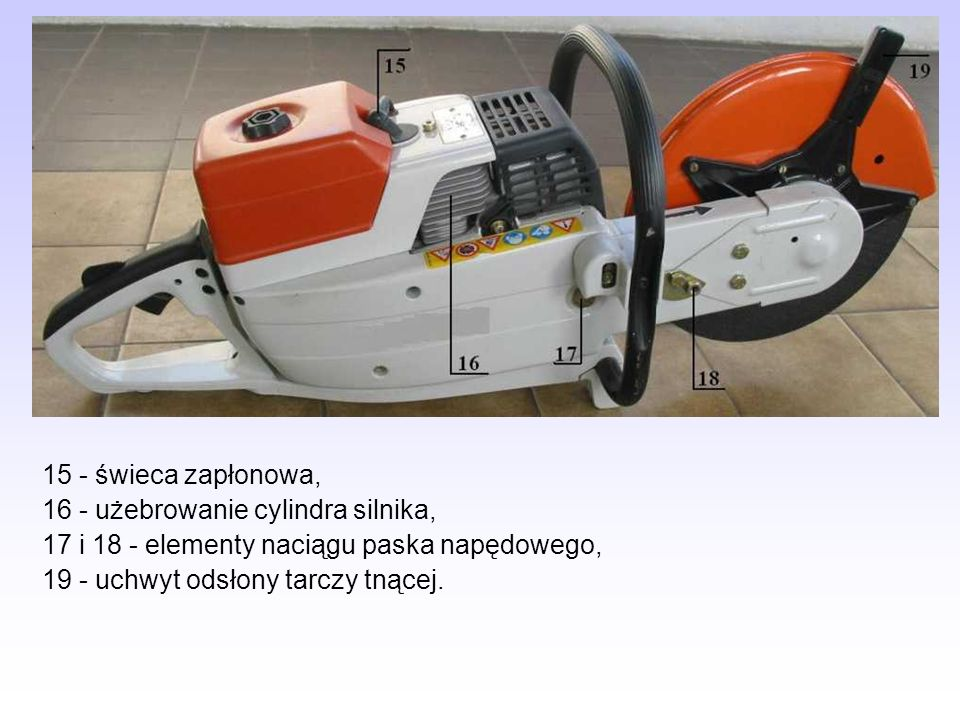 15 - świeca zapłonowa,16 - użebrowanie cylindra silnika, 17 i 18 - elementy naciągu paska napędowego,
