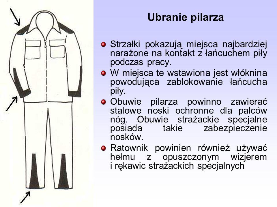 Ubranie pilarza Strzałki pokazują miejsca najbardziej narażone na kontakt z łańcuchem piły podczas pracy.