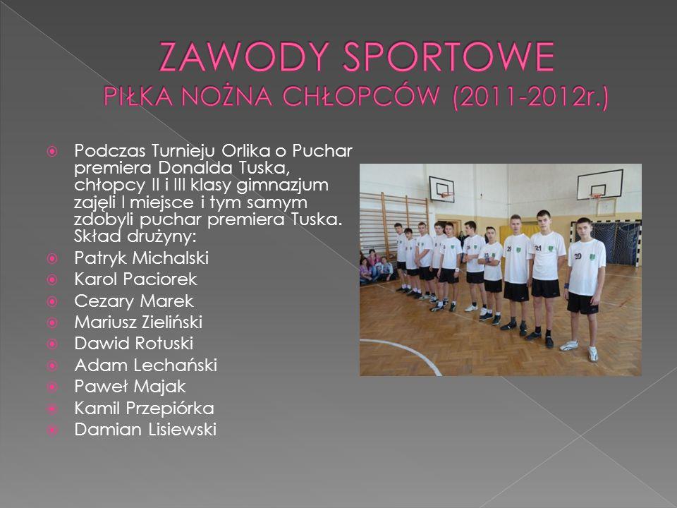 ZAWODY SPORTOWE PIŁKA NOŻNA CHŁOPCÓW (2011-2012r.)