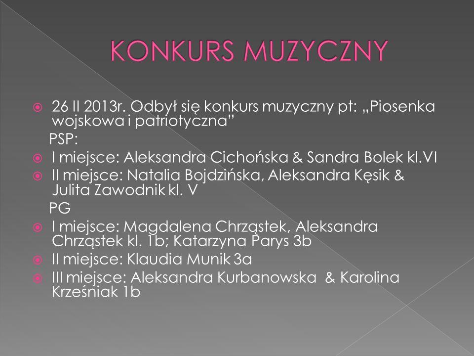 """KONKURS MUZYCZNY 26 II 2013r. Odbył się konkurs muzyczny pt: """"Piosenka wojskowa i patriotyczna PSP:"""