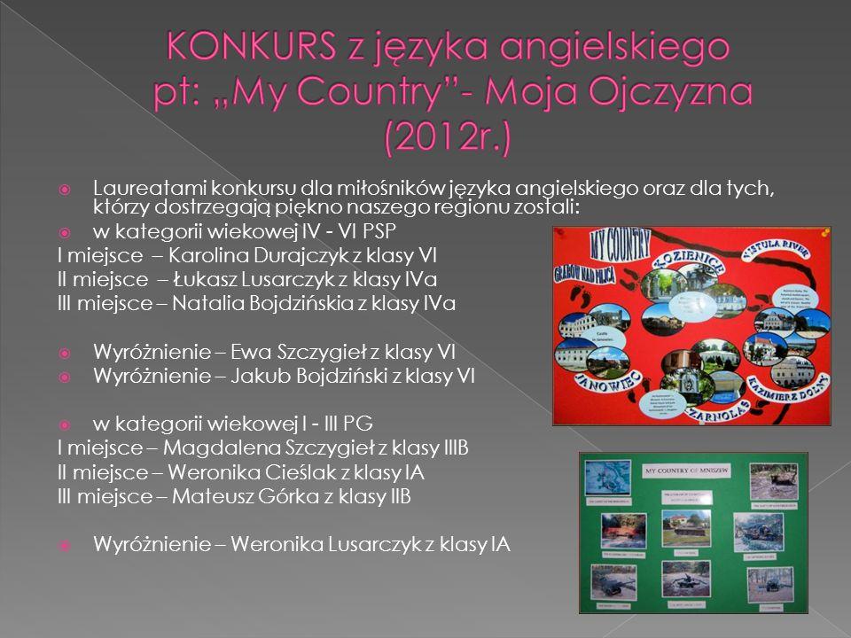 """KONKURS z języka angielskiego pt: """"My Country - Moja Ojczyzna (2012r.)"""