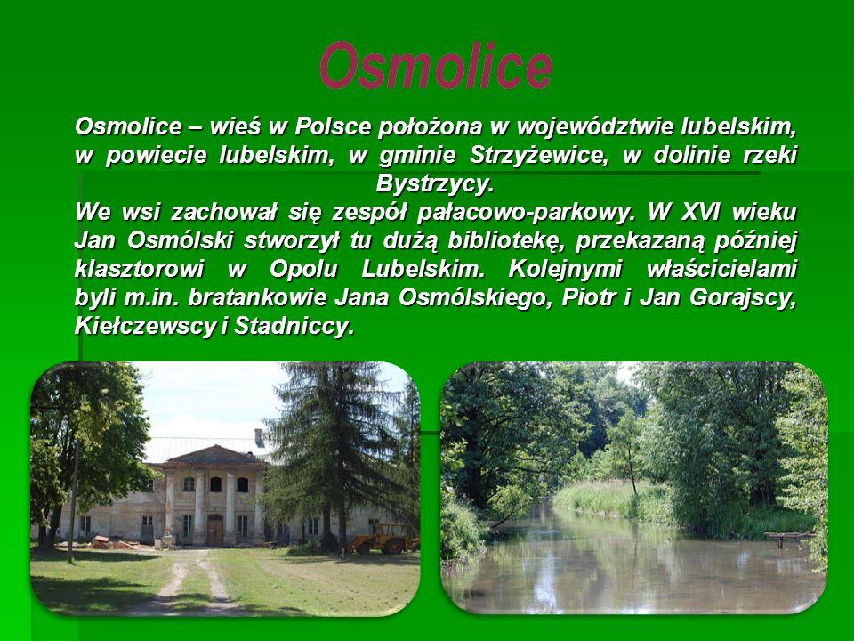 Osmolice – wieś w Polsce położona w województwie lubelskim, w powiecie lubelskim, w gminie Strzyżewice, w dolinie rzeki Bystrzycy.