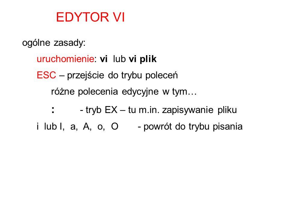 EDYTOR VI : - tryb EX – tu m.in. zapisywanie pliku ogólne zasady: