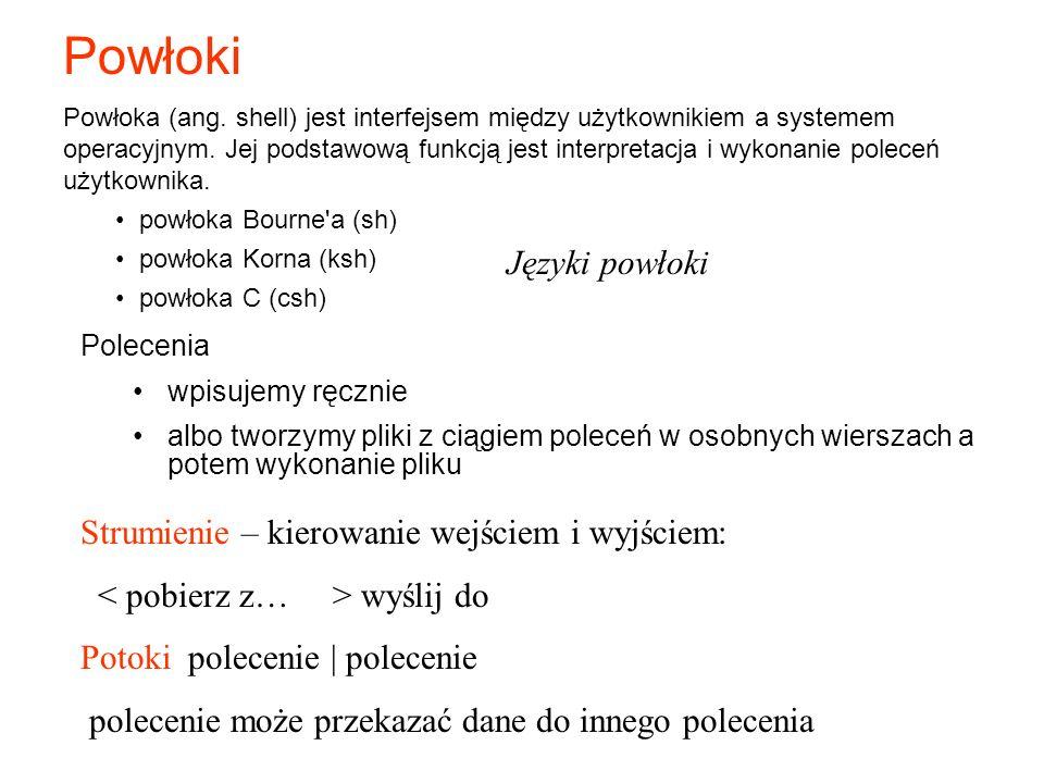 Powłoki Języki powłoki Strumienie – kierowanie wejściem i wyjściem: