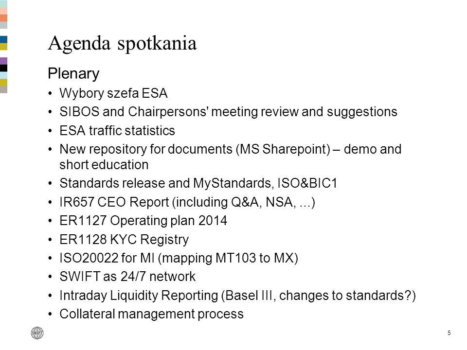 Agenda spotkania Plenary Wybory szefa ESA