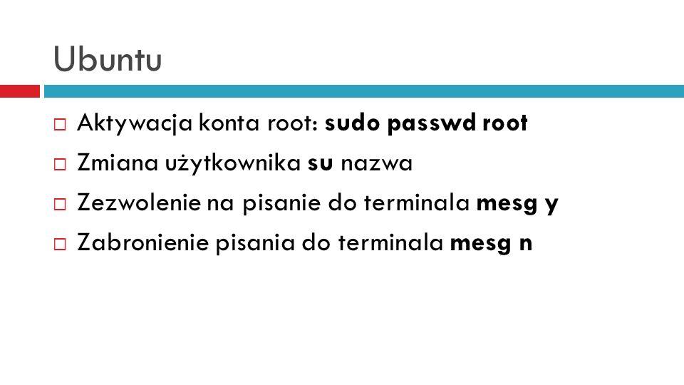Ubuntu Aktywacja konta root: sudo passwd root