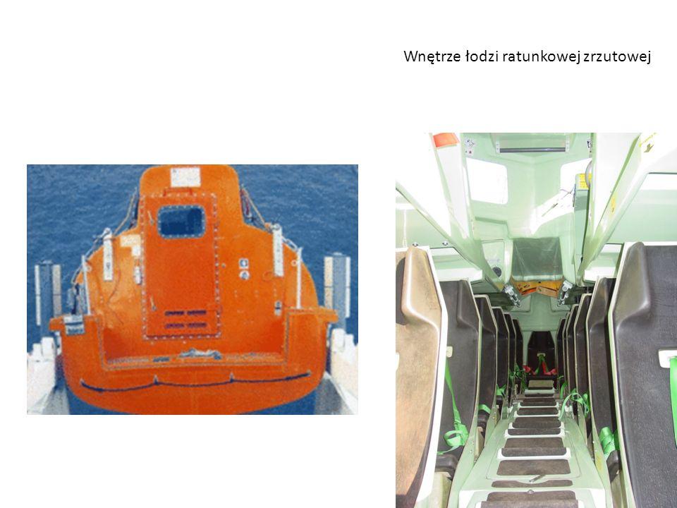 Wnętrze łodzi ratunkowej zrzutowej