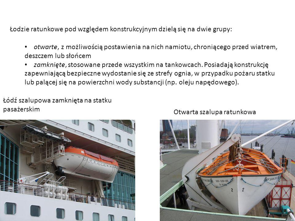Łodzie ratunkowe pod względem konstrukcyjnym dzielą się na dwie grupy:
