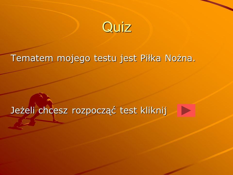 Quiz Tematem mojego testu jest Piłka Nożna.