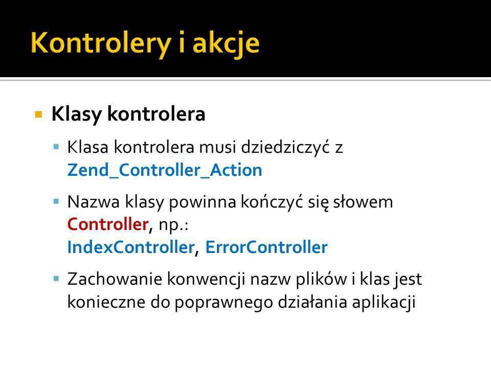 Kontrolery i akcje Klasy kontrolera