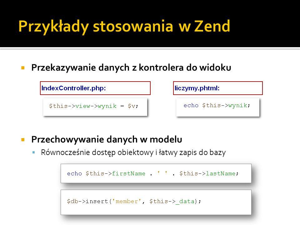 Przykłady stosowania w Zend