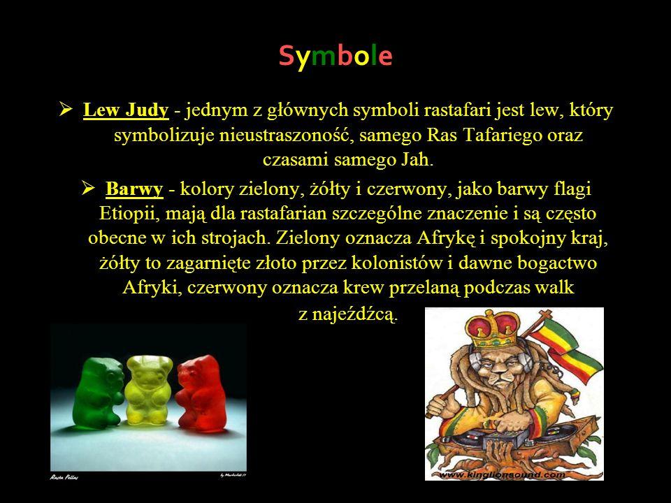 Symbole Lew Judy - jednym z głównych symboli rastafari jest lew, który symbolizuje nieustraszoność, samego Ras Tafariego oraz czasami samego Jah.