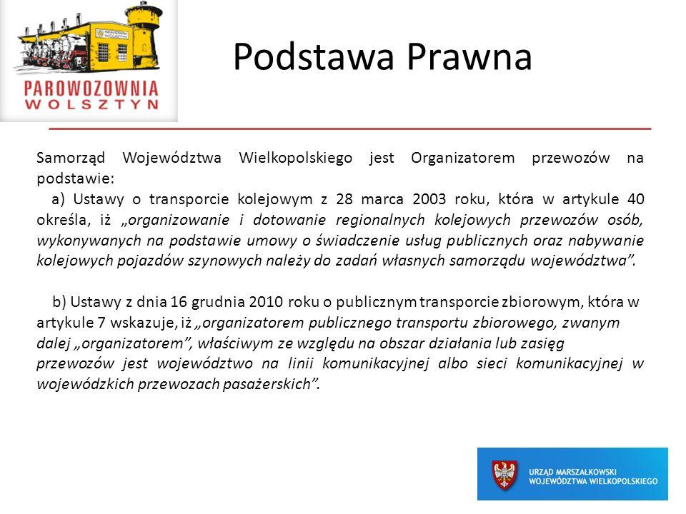 Podstawa Prawna Samorząd Województwa Wielkopolskiego jest Organizatorem przewozów na podstawie: