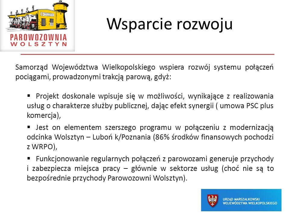 Wsparcie rozwoju Samorząd Województwa Wielkopolskiego wspiera rozwój systemu połączeń pociągami, prowadzonymi trakcją parową, gdyż: