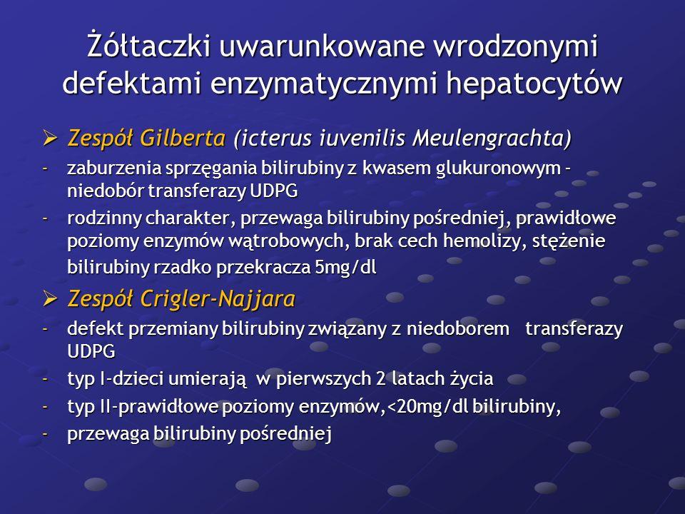 Żółtaczki uwarunkowane wrodzonymi defektami enzymatycznymi hepatocytów