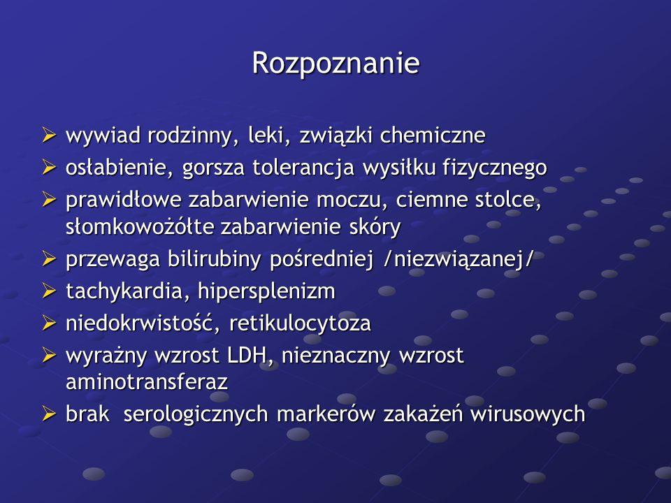 Rozpoznanie wywiad rodzinny, leki, związki chemiczne
