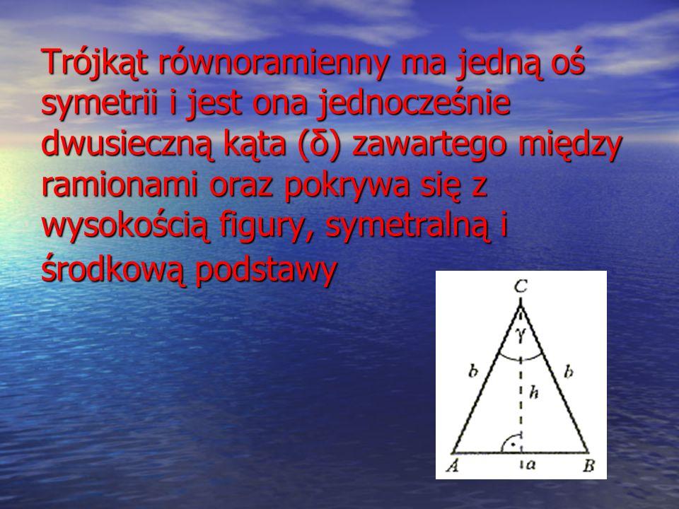 Trójkąt równoramienny ma jedną oś symetrii i jest ona jednocześnie dwusieczną kąta (δ) zawartego między ramionami oraz pokrywa się z wysokością figury, symetralną i środkową podstawy