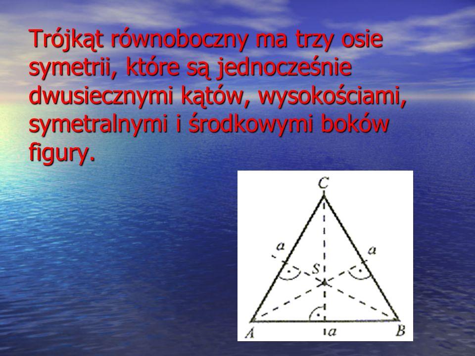 Trójkąt równoboczny ma trzy osie symetrii, które są jednocześnie dwusiecznymi kątów, wysokościami, symetralnymi i środkowymi boków figury.