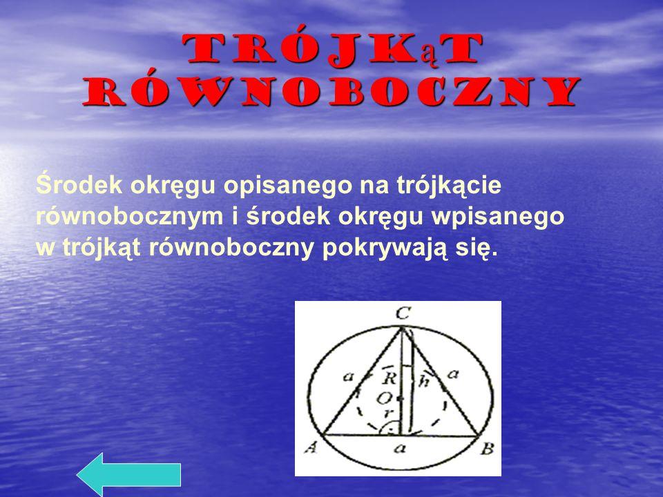 Trójkąt równoboczny Środek okręgu opisanego na trójkącie równobocznym i środek okręgu wpisanego w trójkąt równoboczny pokrywają się.