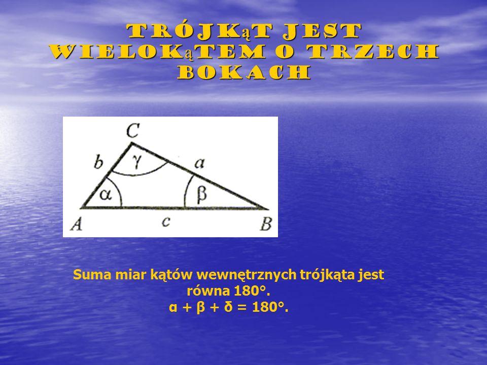 Trójkąt jest wielokątem o trzech bokach