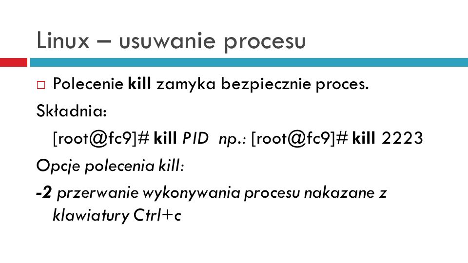 Linux – usuwanie procesu
