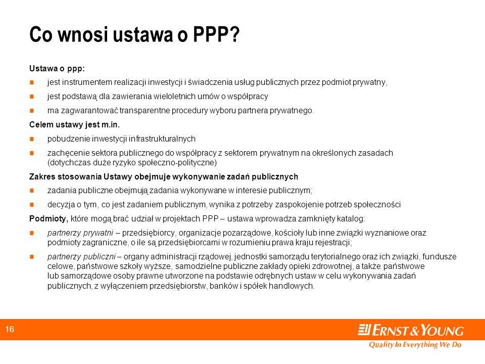 Co wnosi ustawa o PPP Ustawa o ppp: