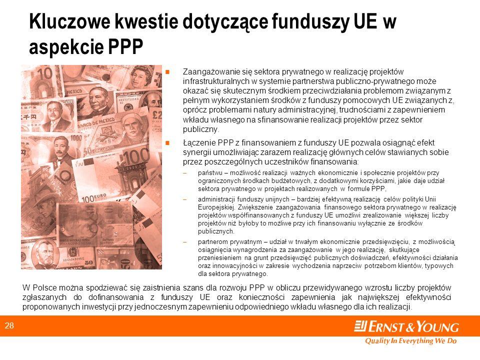 Kluczowe kwestie dotyczące funduszy UE w aspekcie PPP