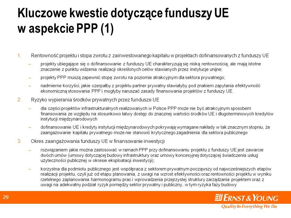 Kluczowe kwestie dotyczące funduszy UE w aspekcie PPP (1)