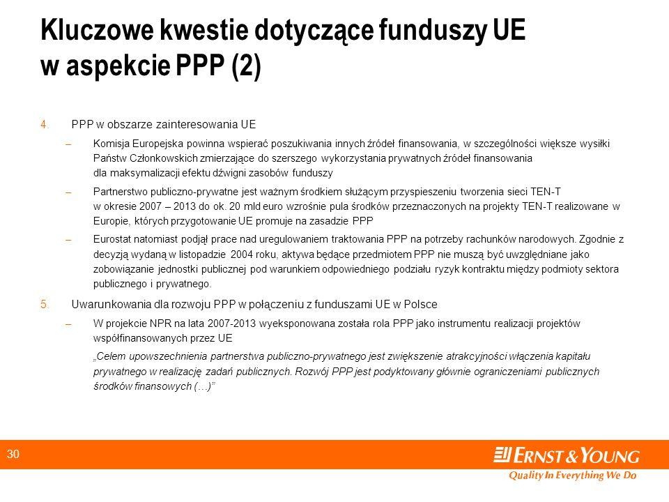 Kluczowe kwestie dotyczące funduszy UE w aspekcie PPP (2)