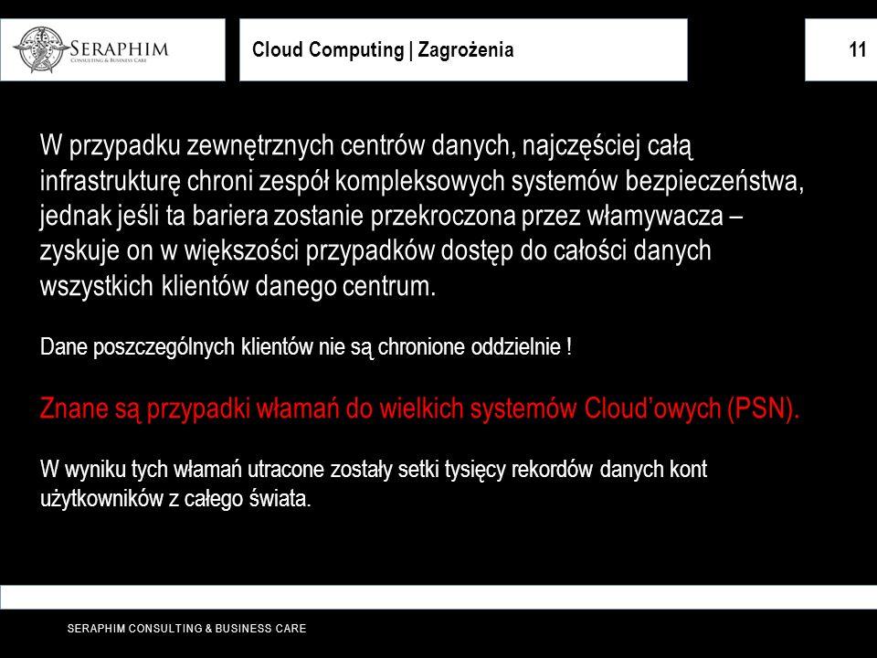 Znane są przypadki włamań do wielkich systemów Cloud'owych (PSN).
