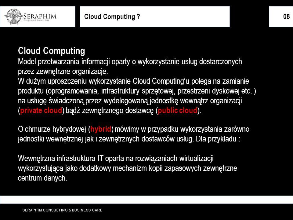 Cloud Computing 08. Cloud Computing. Model przetwarzania informacji oparty o wykorzystanie usług dostarczonych przez zewnętrzne organizacje.