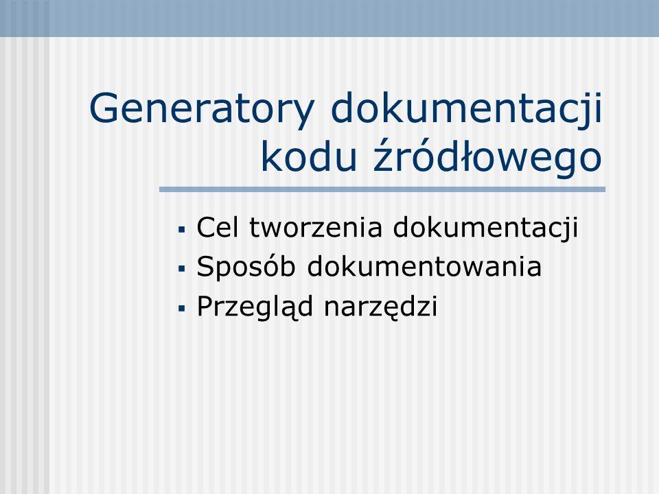 Generatory dokumentacji kodu źródłowego