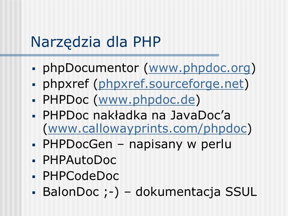 Narzędzia dla PHP phpDocumentor (www.phpdoc.org)
