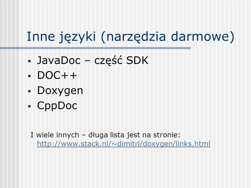 Inne języki (narzędzia darmowe)