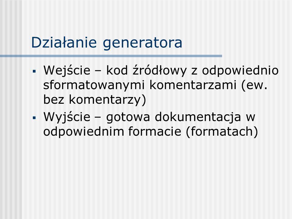 Działanie generatora Wejście – kod źródłowy z odpowiednio sformatowanymi komentarzami (ew. bez komentarzy)