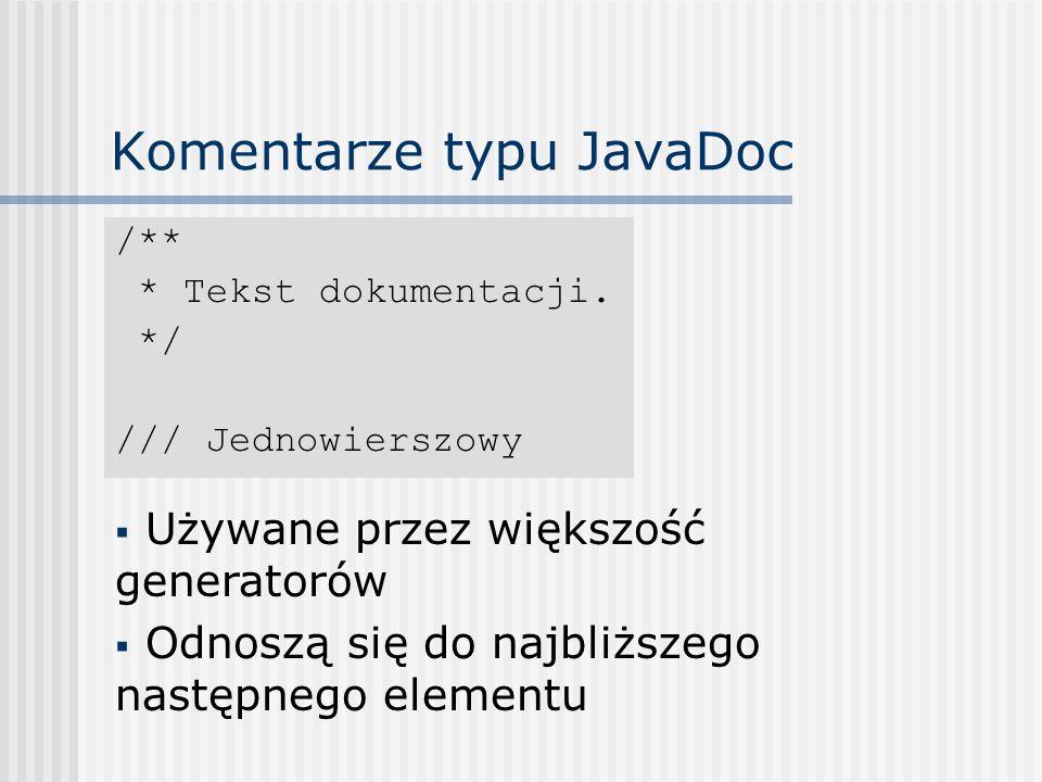 Komentarze typu JavaDoc