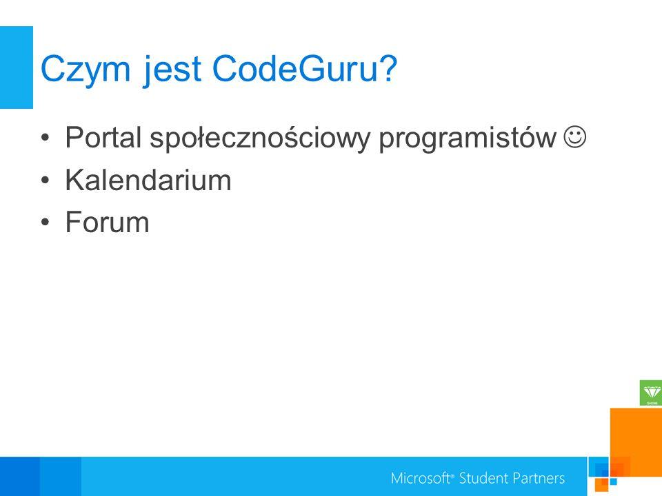 Czym jest CodeGuru Portal społecznościowy programistów  Kalendarium
