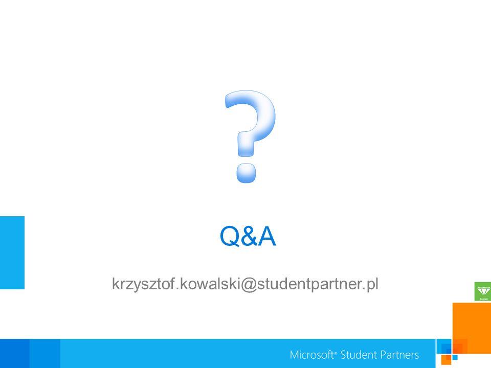 krzysztof.kowalski@studentpartner.pl Q&A