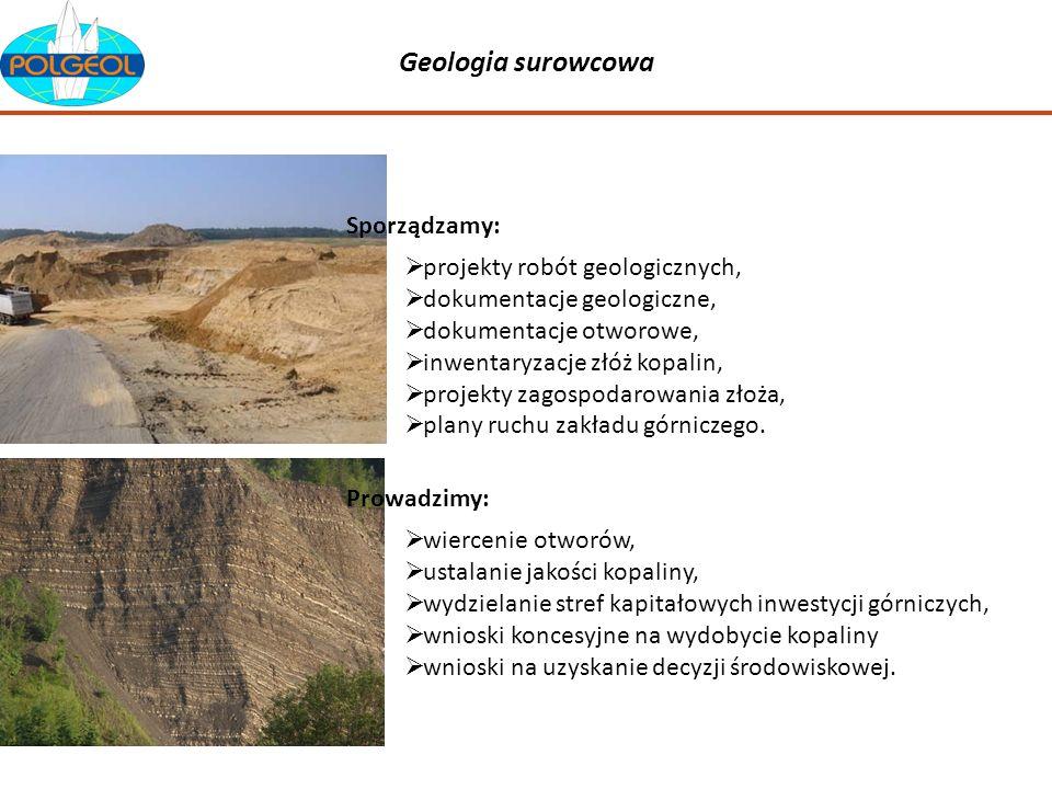 Geologia surowcowa Sporządzamy: projekty robót geologicznych,
