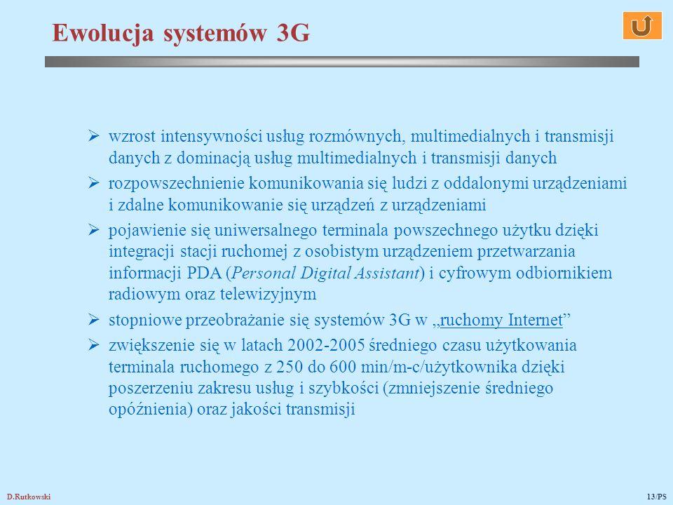 Ewolucja systemów 3G wzrost intensywności usług rozmównych, multimedialnych i transmisji danych z dominacją usług multimedialnych i transmisji danych.