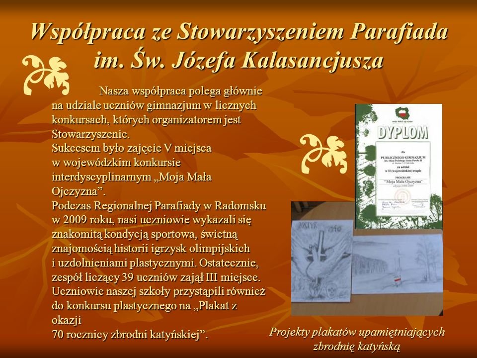 Współpraca ze Stowarzyszeniem Parafiada im. Św. Józefa Kalasancjusza