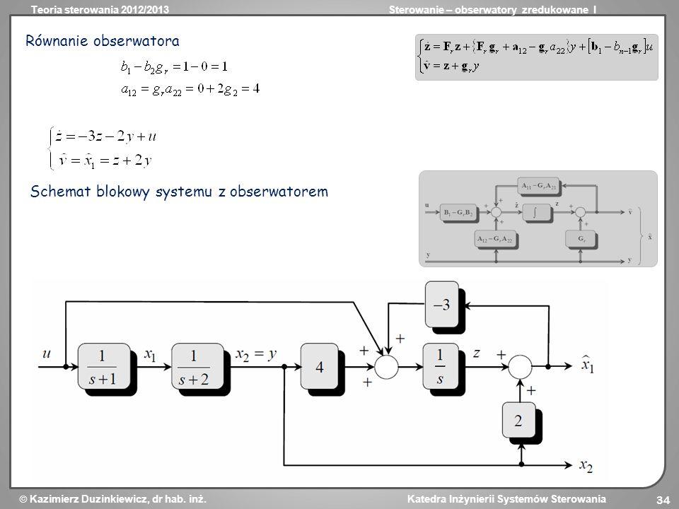 Równanie obserwatora Schemat blokowy systemu z obserwatorem