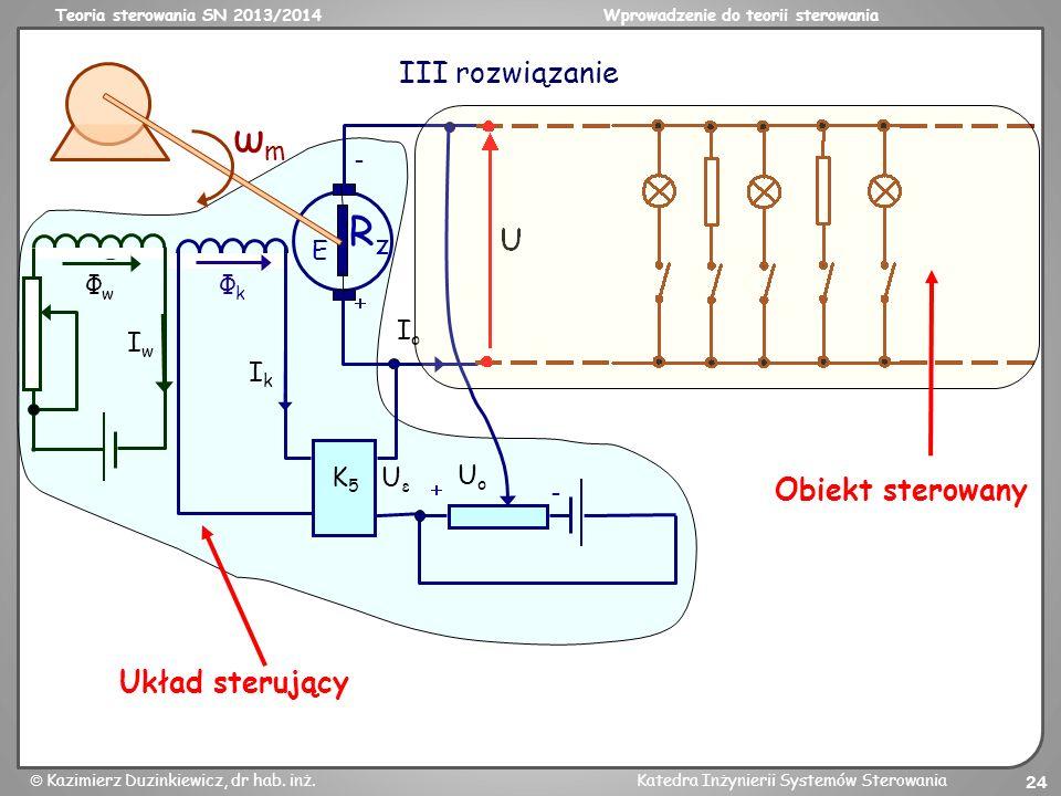 ωm Rz III rozwiązanie Obiekt sterowany Układ sterujący Uo Φk  - Io E