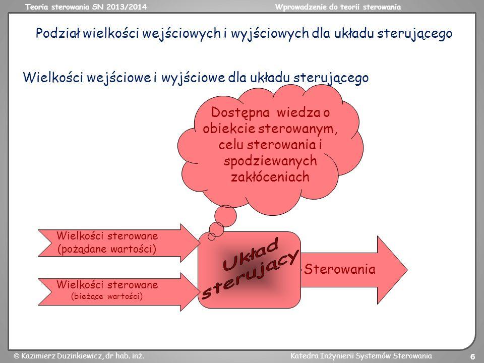 Podział wielkości wejściowych i wyjściowych dla układu sterującego