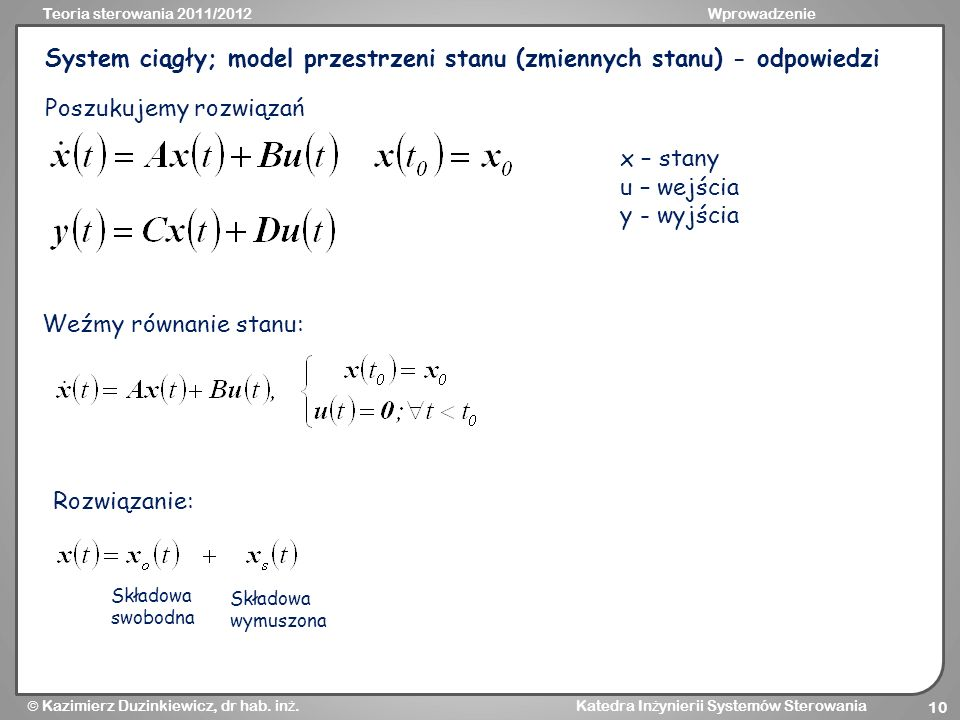 System ciągły; model przestrzeni stanu (zmiennych stanu) - odpowiedzi