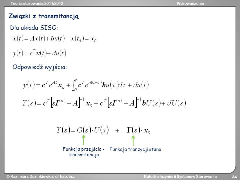 Funkcja przejścia - transmitancja