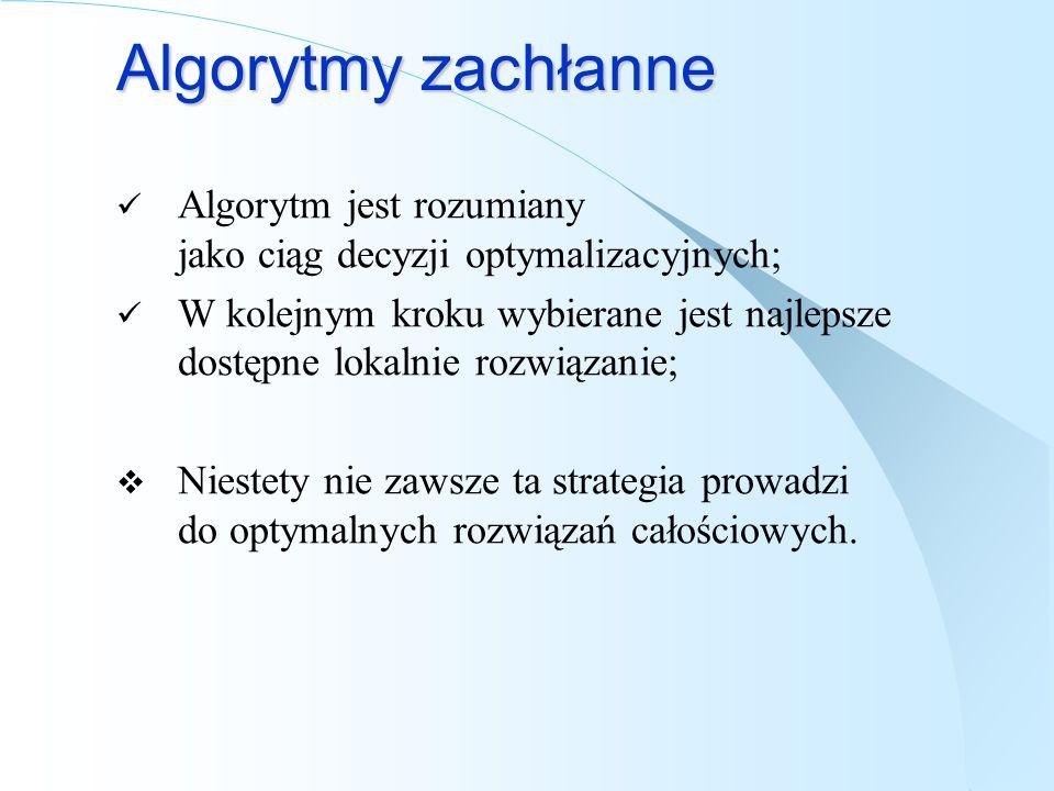 Algorytmy zachłanne Algorytm jest rozumiany jako ciąg decyzji optymalizacyjnych;